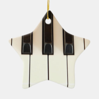 Piano Keys Star Double-Sided Star Ceramic Christmas Ornament