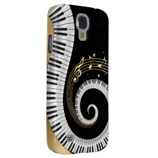 Piano Keys Swirled with Gold Musical Notes Galaxy S4 Case