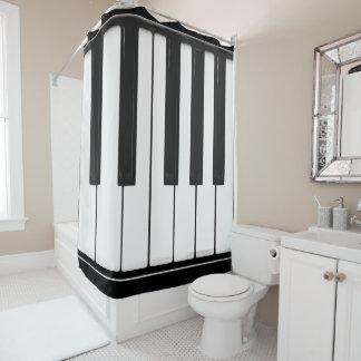 Piano keys to happiness: ebony and ivory shower curtain