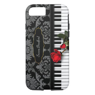 PIANO KEYS w/RED ROSE - Damask - I-Phone 6/6s Case