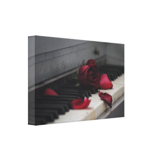 Piano Keys with a Red Rose Canvas Print