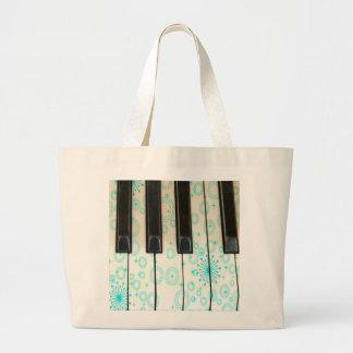 Piano Keys with Aqua Circles Jumbo Tote Bag