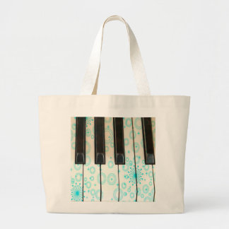 Piano Keys with Aqua Circles Large Tote Bag