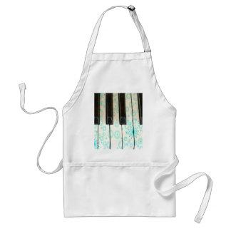 Piano Keys with Aqua Circles Standard Apron