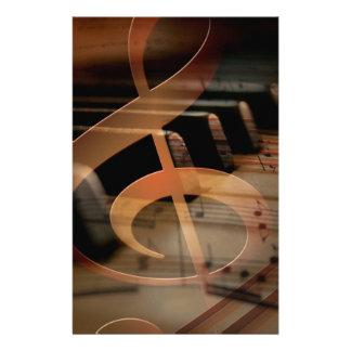 Piano Keys with Clef Customized Stationery