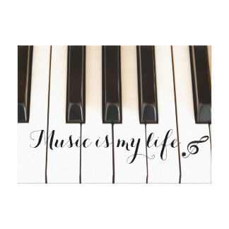 Piano Keys with Music Quote Stretched Canvas Prints