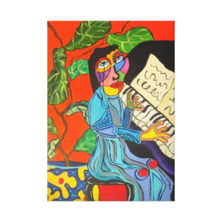 Piano Lady Stretched Canvas Prints