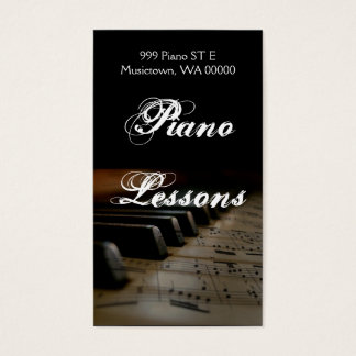 Piano Lessons, Instructor, Music Business Card