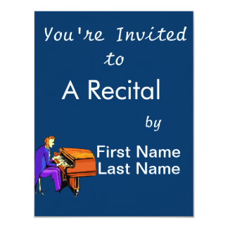 Piano man playing grand piano blue coat 11 cm x 14 cm invitation card