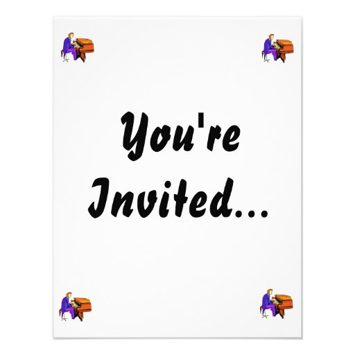 Piano man playing grand piano blue coat personalized invites