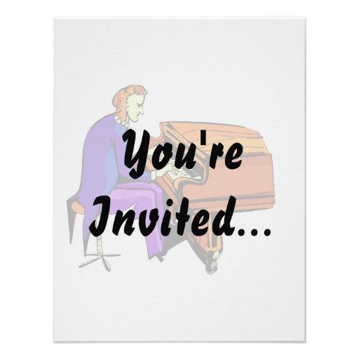 Piano man playing grand piano blue coat invitations