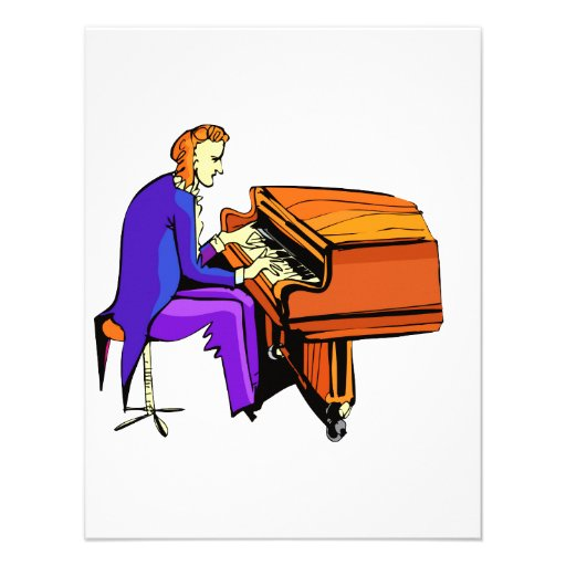 Piano man playing grand piano blue coat invitation