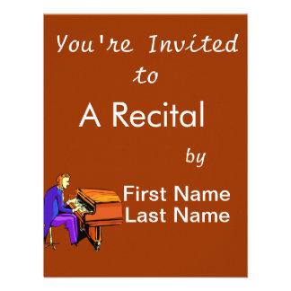 Piano man playing grand piano blue coat personalized invite