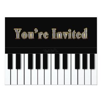 """PIANO MULTI PURPOSE INVITATION - GOLD 5.5"""" X 7.5"""" INVITATION CARD"""