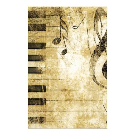 Piano Music Notes Stationery Paper