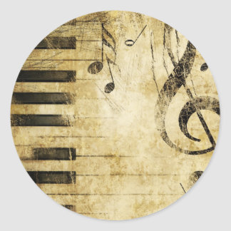 Piano Music Notes Classic Round Sticker