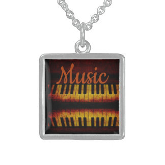 "Piano & ""Music"" Sterling Silver Square Necklace"