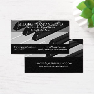 Piano Music Teacher Classic with Social Media Business Card