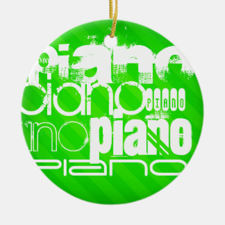 Piano; Neon Green Stripes. Double-Sided Ceramic Round Christmas Ornament