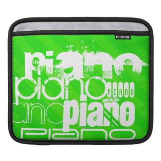 Piano; Neon Green Stripes. iPad Sleeves
