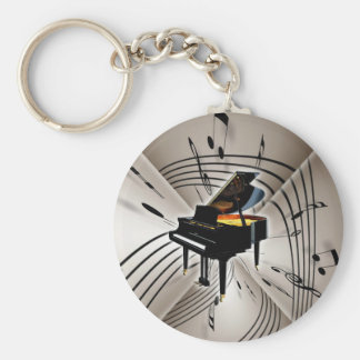 Piano Notes and Staff Basic Round Button Key Ring