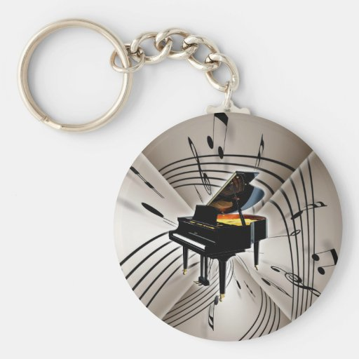 Piano Notes and Staff Key Chain