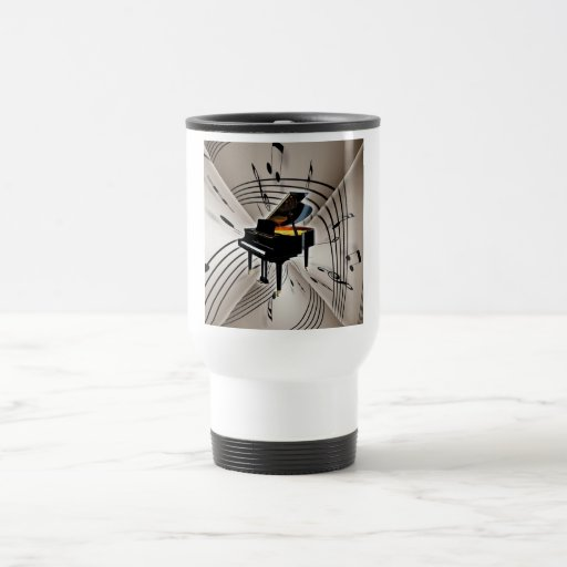 Piano Notes and Staff 15 Oz Stainless Steel Travel Mug