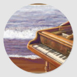 Piano on a Beach Round Sticker