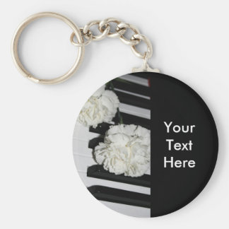 Piano or Organ Keyboard and White Carnations Basic Round Button Key Ring
