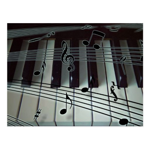 Piano or Organ Keyboard with Music Notes Post Cards