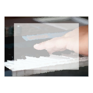piano painterly electric left hand playing keys 13 cm x 18 cm invitation card