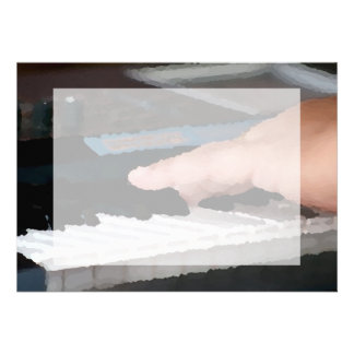 piano painterly electric left hand playing keys personalized announcement
