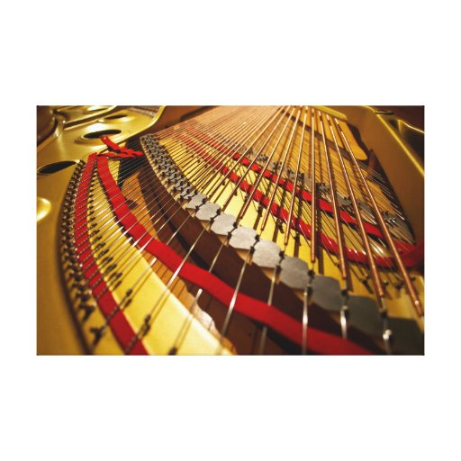 Piano Photo Canvas Art from the Bass Strings Stretched Canvas Prints