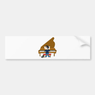 Piano Player and Dog Bumper Sticker