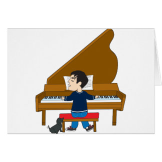 Piano Player and Dog Card