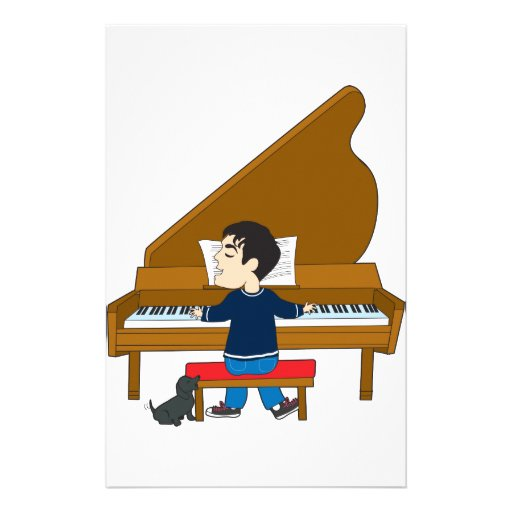 Piano Player and Dog Personalized Stationery