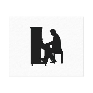 Piano player stretched canvas prints