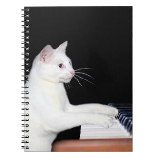 Piano playing cat notebook