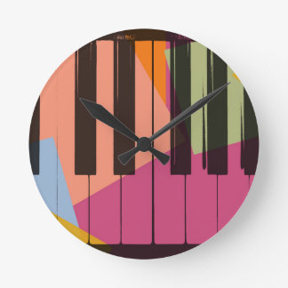 Piano Pop Art Round Clock