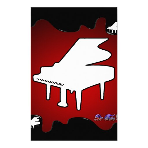 PIANO RED BACKGROUND PRODUCTS PERSONALIZED STATIONERY