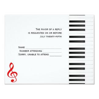 Piano Response Card 11 Cm X 14 Cm Invitation Card