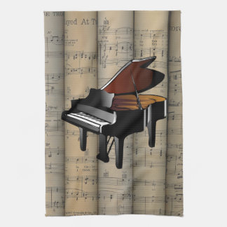 Piano~ Rolled Sheet Music Background ~ Musical Tea Towel