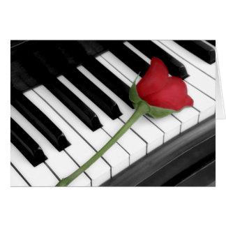 Piano & rose tinted greeting card
