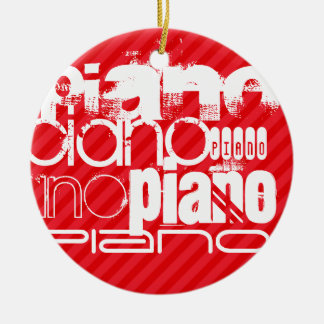 Piano; Scarlet Red Stripes Christmas Ornament