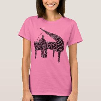 Piano Shaped Word Art Black Text T-Shirt
