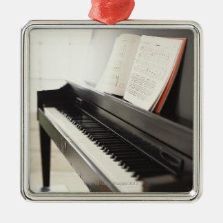 Piano Silver-Colored Square Decoration