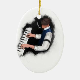 Piano Singer Ceramic Oval Decoration