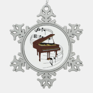 Piano Snowflake Pewter Christmas Ornament