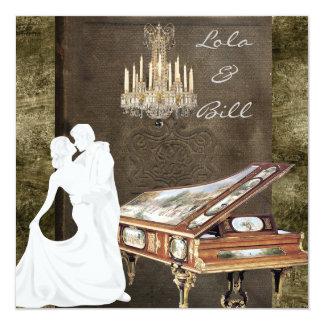 PIANO Storybook Vintage Wedding Invitation Antique