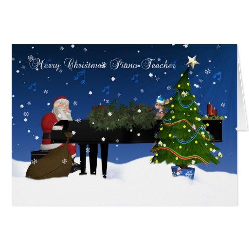 Piano Teacher Card With Santa Playing Piano